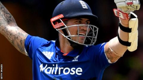Alex Hales celebrates his hundred for England against West Indies