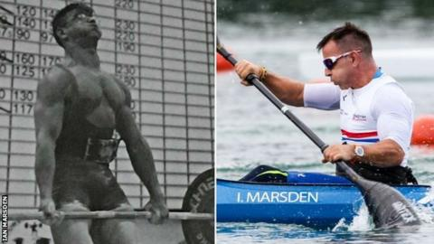 Ian Marsden competing as a powerlifter and para-canoeist