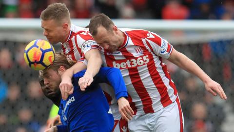 Everton's Tom Davies and Stoke City's Ryan Shawcross