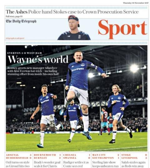 Wayne Rooney jumps for joy as he hits a hat-trick for Everton against West Ham
