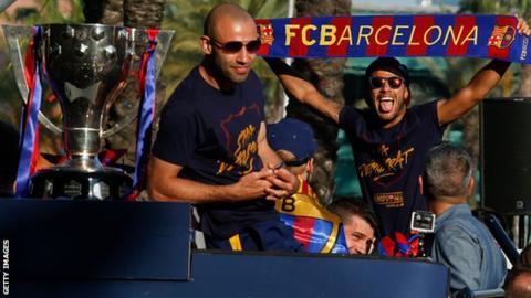 Barcelona defender Javier Mascherano (left)
