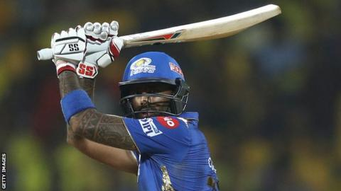 Suryakumar Yadav plays a shot for Mumbai Indians against Chennai Super Kings