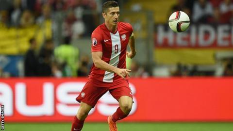 Robert Lewandowski playing for Poland