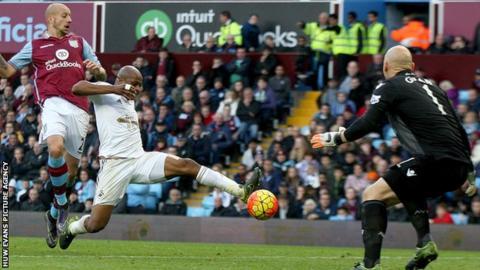 Andre Ayew scores against Aston Villa