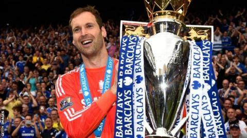 Petr Cech celebrates winning one of four Premier Legaue titles