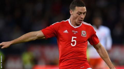 James Chester playing for Wales against Netherlands