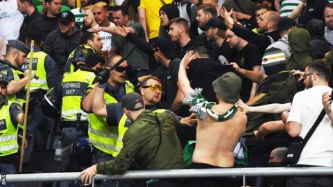 Celtic fans in Stockholm