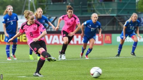 Scotland's Kim Little takes a penalty