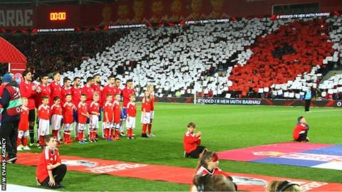 Wales players line up as fans join together to display a poppy symbol ahead of facing Serbia in a 2018 World Cup Qualifier