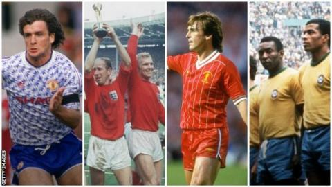 Man Utd 1990, England 1966, Liverpool 1984 and Brazil 1970 kits