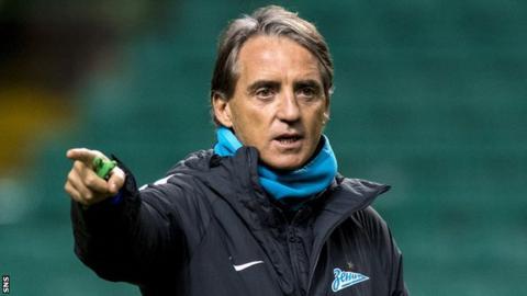 Zenit St Petersburg coach Roberto Mancini at Celtic Park