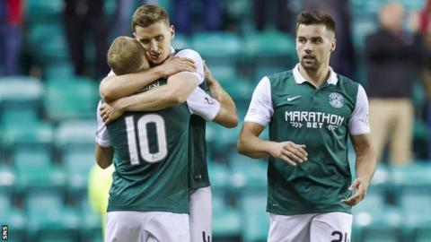 Hibernian trio Dylan McGeouch (left), Paul Hanlon (centre) and Darren McGregor celebrate at full-time