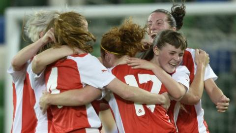 Cliftonville's players celebrate Marissa Callaghan's equaliser but the Reds lost 2-1 to Linfield