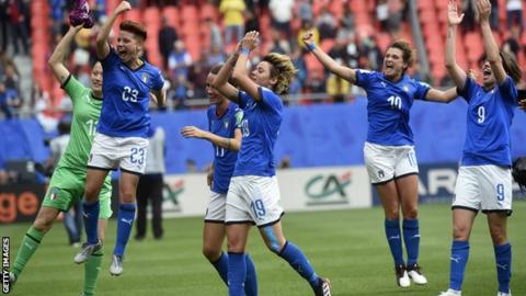 Italy players celebrate victory against Australia