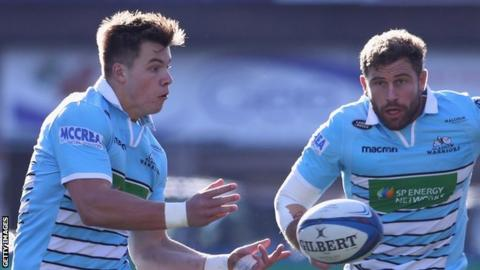 Huw Jones sends out a pass for Glasgow