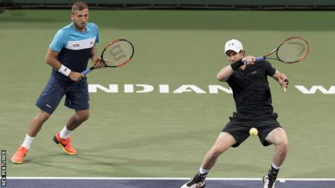 British pair Dan Evans (left) and Andy Murray