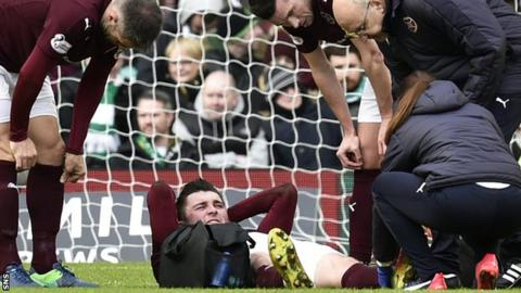 Hearts' John Souttar lies injured at Celtic Park