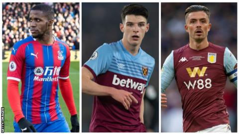 Crystal Palace winger Wilfried Zaha, West Ham midfielder Declan Rice and Aston Villa midfielder Jack Grealish