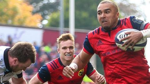 Full-back Simon Zebo scored Munster's third try before half-time