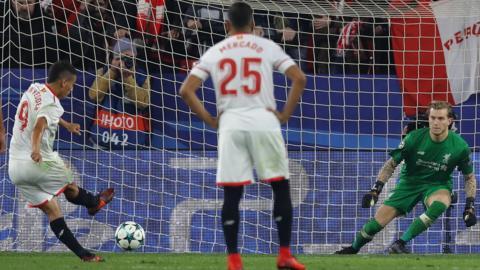 Wissam Ben Yedder of Sevilla scores