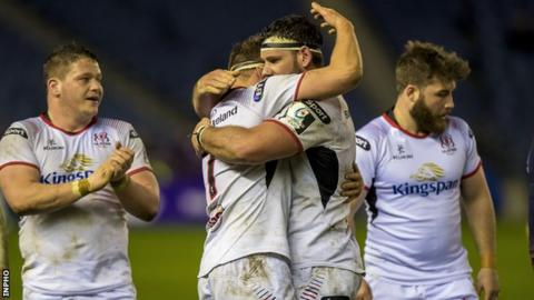 Ulster players celebrate at Murrayfield after their 22-point win over Edinburgh