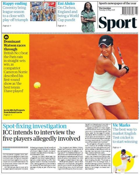 Guardian sports page
