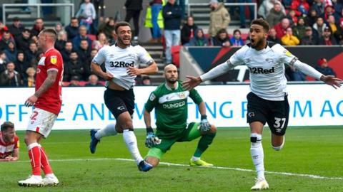 Jayden Bogle celebrates goal for Derby
