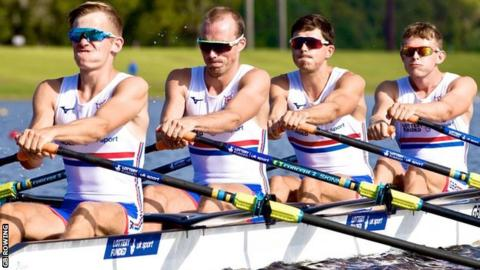 Peter Chambers (second from left) with the GB lightweight quadruple sculls team at the World Championships