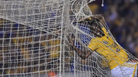 MONTERREY, MEXICO - MARCH 02: Julián Quiñones of Tigres jumps inside the net during the 9th round match between Tigres UANL and Pachuca as part of the Torneo Clausura 2019 Liga MX at Universitario Stadium on March 02, 2019 in Monterrey, Mexico. (Photo by Azael Rodriguez/Getty Images)