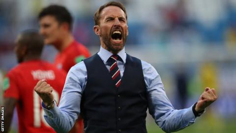 England boss Gareth Southgate celebrates after his side beat Sweden in the World Cup quarter-finals