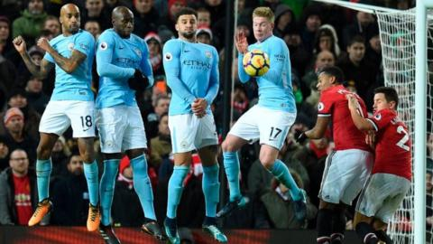 Kevin De Bruyne (fourth from left) in action against Manchester United