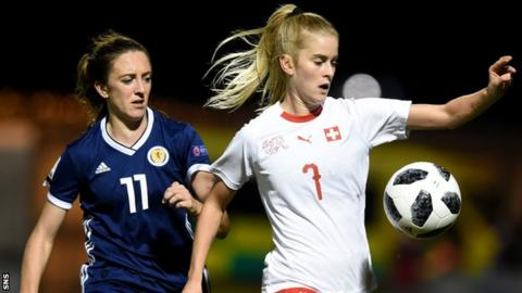 Scotland edged out fellow Algarve Cup qualifiers Switzerland to reach the World Cup