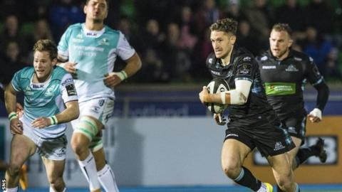 Henry Pyrgos playing for Glasgow Warriors against Connacht