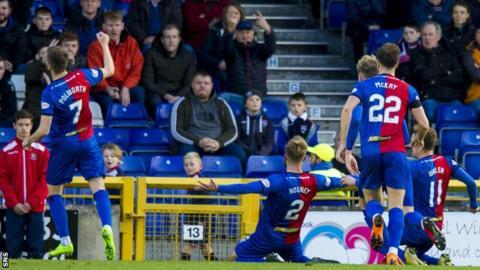 Shaun Rooney celebrate scoring for Inverness