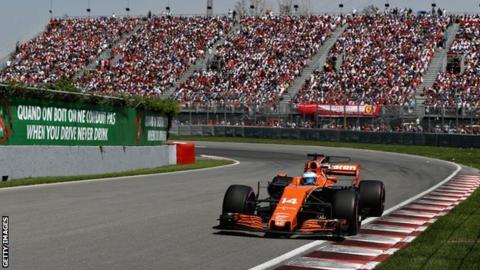 Fernando Alonso driving in Montreal Grand Prix 2017