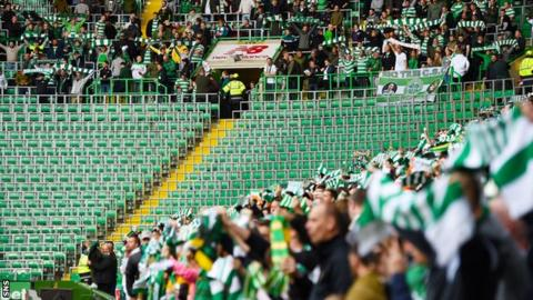The closed Green Brigade section at Celtic Park