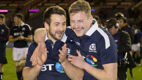 Greig Laidlaw and Finn Russell