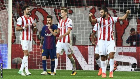 Olympiakos held Barcelona to a goalless draw in Athens in the Champions League on 31 October
