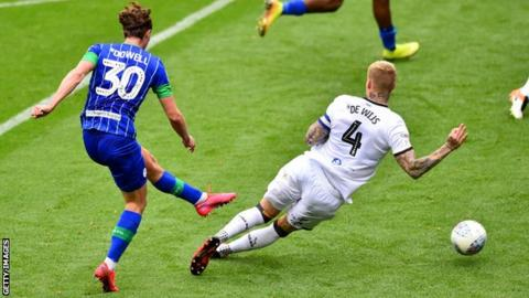 Kieran Dowell scores against Hull while on loan at Wigan