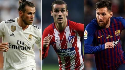 Gareth Bale, Antoine Griezmann and Lionel Messi