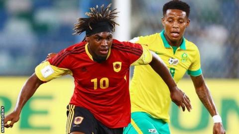 Angola's Menga Dolly Domingos in action against South Africa