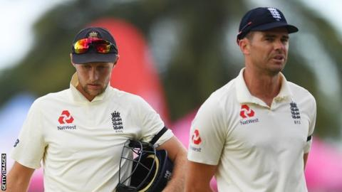 Joe Root and James Anderson after England's series defeat by West Indies