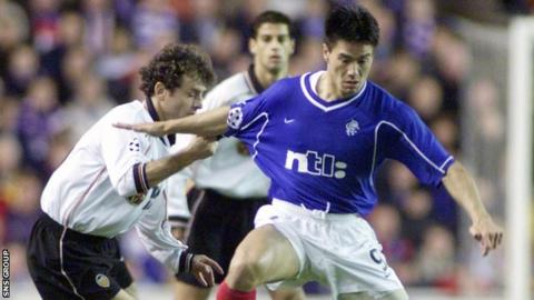 Michael Mols in Champions League action for Rangers