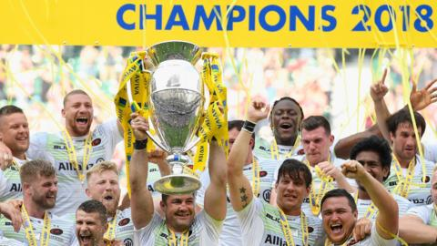 Saracens lift the Premiership trophy