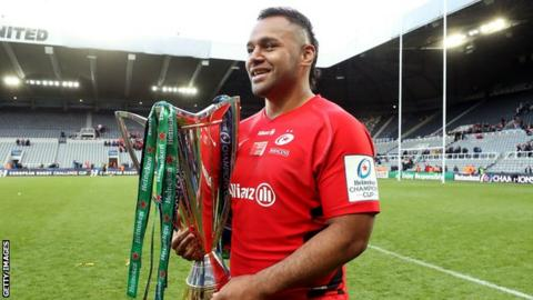Billy Vunipola with the Champions Cup trophy