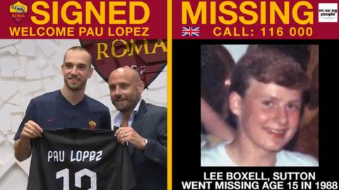 Tweet showing Roma's announcing Paul Lopez signing alongside an image of Lee Boxell, who went missing 31 years ago aged 15