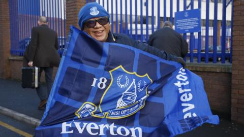Everton fan outside Goodison Park