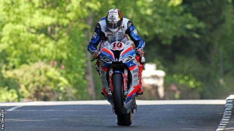 Peter Hickman in action during the Superbike race