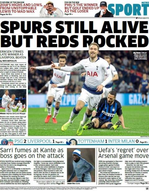 Metro back page on Thursday