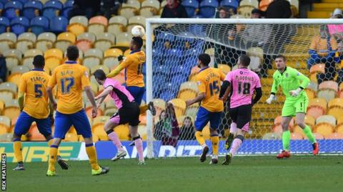 Matt Green leaps to head Mansfield Town's second goal against Northampton